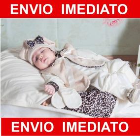 Kit Saída De Maternidade Oncinha Palha - Menina Bebê
