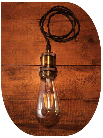 Pendente Vintage Gold + Lâmpada Edison St64 8w + 3m Fio