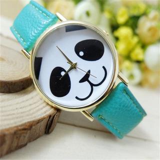Marca New Faux Leather Watch Band Moda Panda Padrão De Pulso
