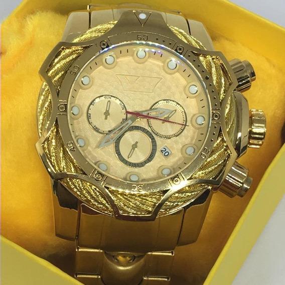 Relógio Masculino Dourado Pesado Top Barato Grande