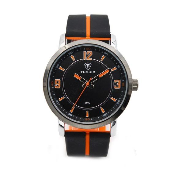Relógio Masculino Tuguir Analógico 5016 - Preto E Laranja