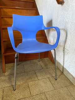 6 Sillas Jim Cromadas Azules! Usadas Muy Buen Estado