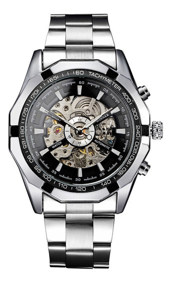 Relógio Transparente Winner Preto