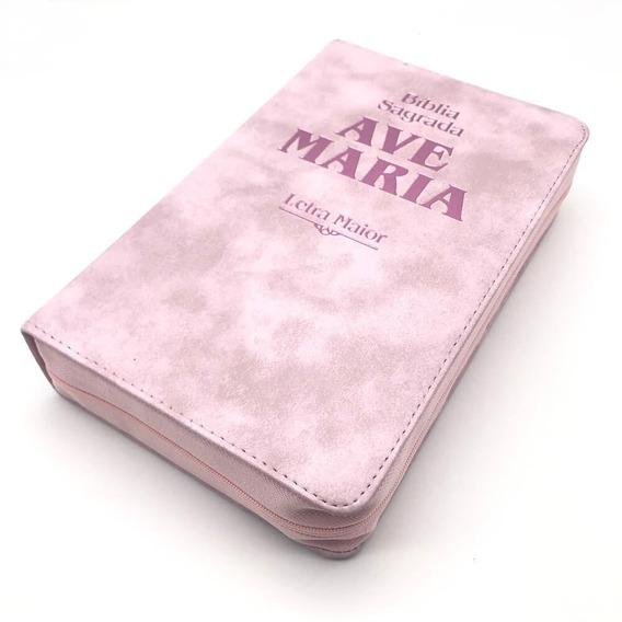 Bíblia Sagrada Catolica Letra Grande Maior Rosa Ave Maria