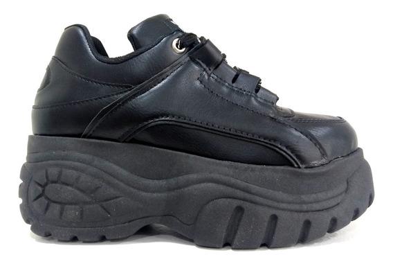 Zapatillas Plataforma Mujer C/cordon Ecocuero Negro Ks