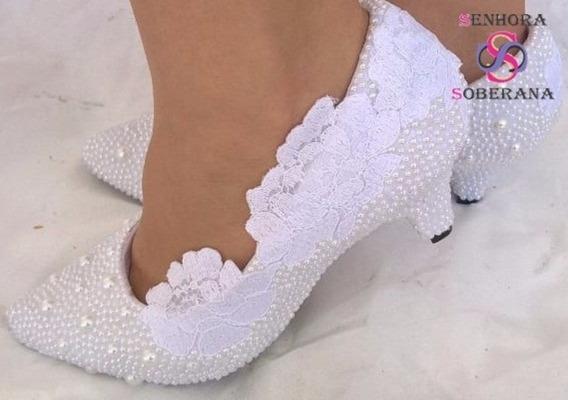 Sapato Branco Rendado Perolado Noivas G (casamento)(noivas)