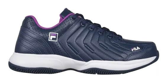 Zapatillas Mujer Fila Lugano 5.0 Navy Violeta Blanco