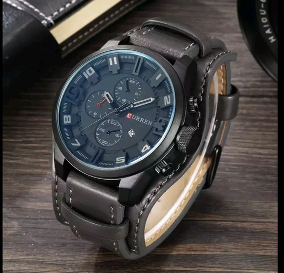 Relógio Masculino Curren Couro Luxo Casual Fashion Esportivo