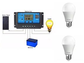 Controlador De Carga 30a+ 2 Lampadas 8w 12v G-light