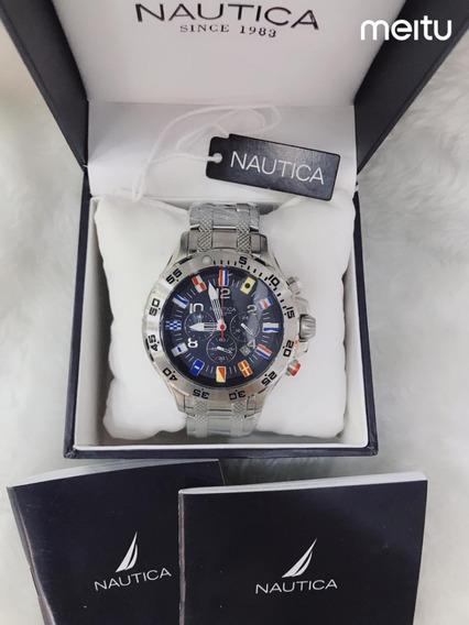 Relógio Nautica Kjh5432 Chronograph N19509g Com Caixa