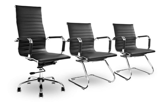 Kit Cadeiras Escritório, 1 Presidente + 2 Fixa Charles Eames