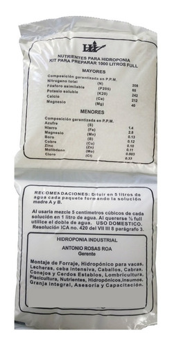 Imagen 1 de 4 de Solución Nutritiva Para Cultivos Hidropónicos Para 1000 L