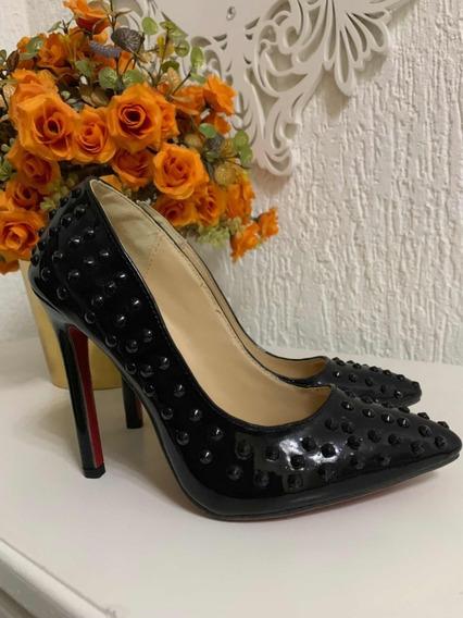 Sapato Scarpin Com Spike Salto 12 Cm