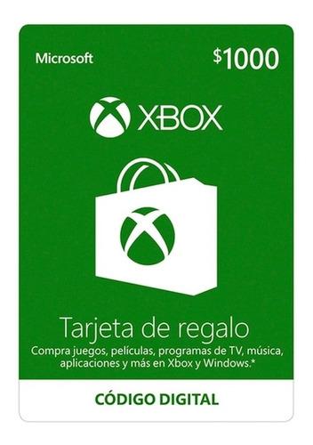 Imagen 1 de 1 de Microsoft Tarjeta Regalo Xbox $1,000 Pesos (código Digital)