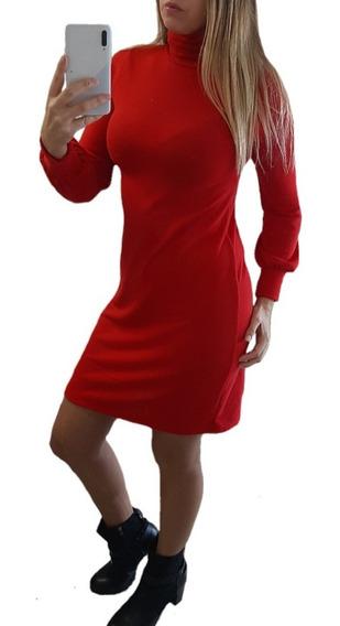 Vestido Polera Lanilla Suelto Casual Abrigado Manga Larga
