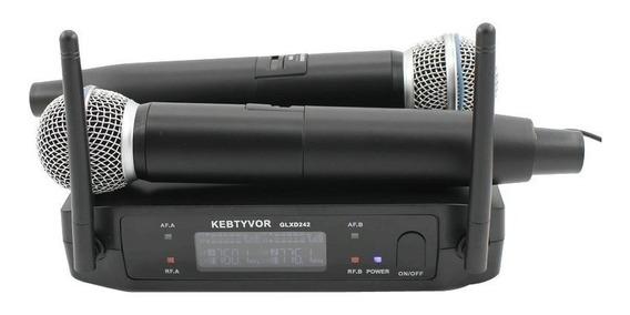 Microfone Sistema S/fio Shure Glxd242 Beta 58a Duplo Sem Fio