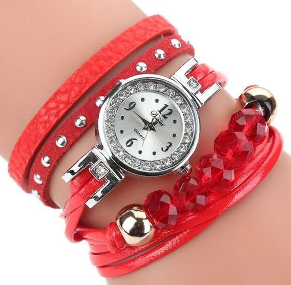Relógio Feminino Duoya Com Bracelete Pulseira Pingente Luxo