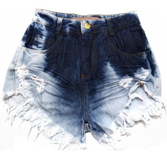 Shorts Jeans Praia Feminino Lycra Cintura Alta St016