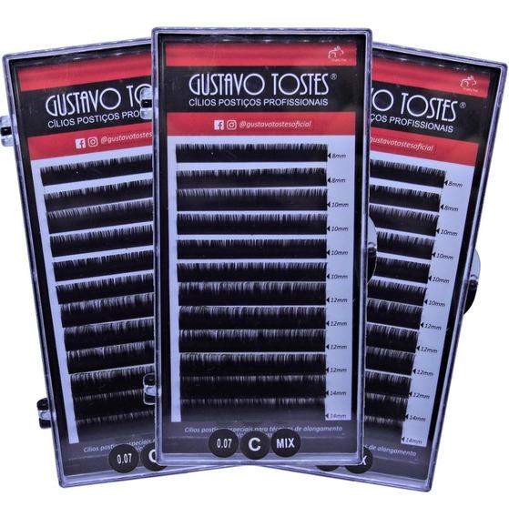 Kit 3 Cílios Volume Russo 0.07 C 8,10,12,14mm Gustavo Tostes