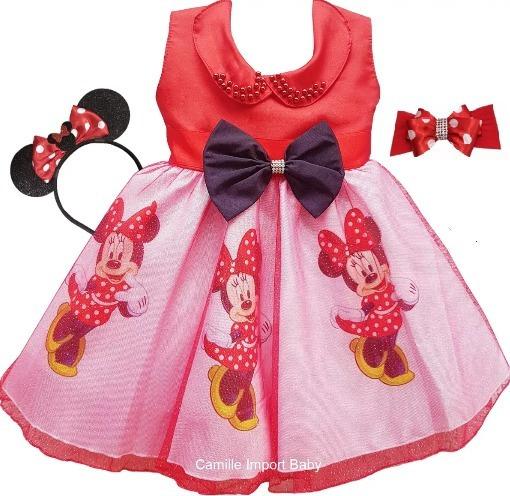 Vestido Minnie Vermelha Infantil Festa Puro Luxo E Tiaras