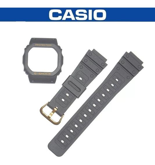 Kit Capa Pulseira Casio G-shock Dw-5600 Prata Ouro Rosca