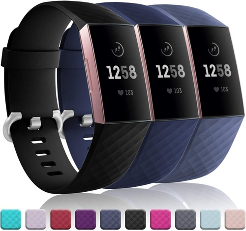 3 Mallas De Reloj Fitbit Charge 4 / Charge 3 / Talle Large