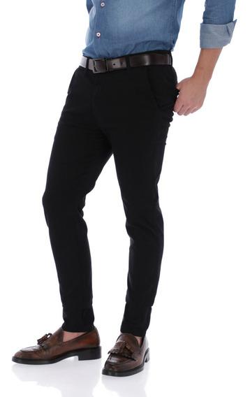 Pantalon Porto Blanco Gabardina Algodon Negro