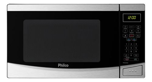 Imagem 1 de 6 de Microondas Philco Pmo26 Inox 26 Litros Menu Fit Preto 110v
