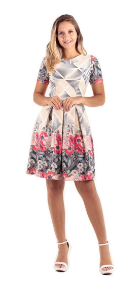 Vestido Lady Like Estampa Floral Moda Evangélica