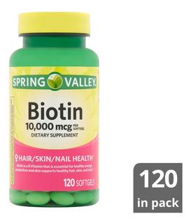 Biotina Spring Valley 10.000 Mcg 120 Cápsulas Blandas Gel