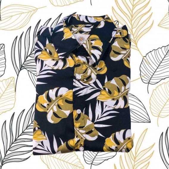 Camisa Fibrana Seda Verano Estilo Hawaiana