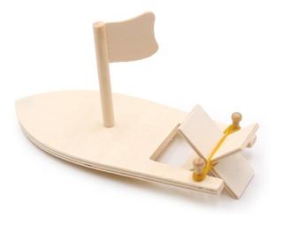 Barcos De Vela De Madera, Modelos Pintados De Color Blanco,