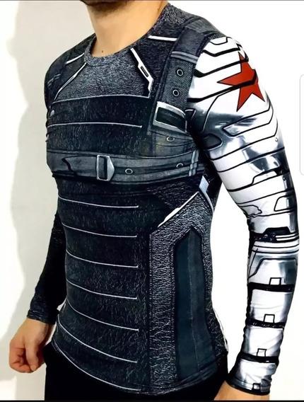 Camisa Compresion Marvel Avengers Soldado Invierno Winter Soldier Playera Hombre Manga Larga Licra Crossfit Rashguard