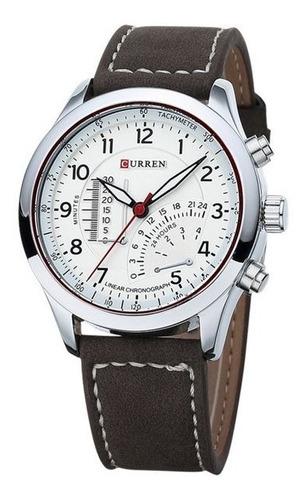 Relógio Masculino Sport Curren Pulseira Couro Marrom 8152