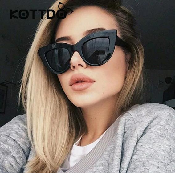 Óculos Estilo Retro Feminino Luxuoso Gatinho Escuro De Sol