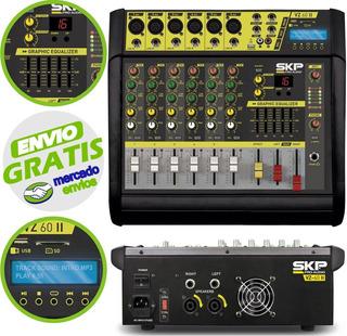 Consola Potenciada 6 Canales Skp Vz60 1600w Usb Fx - Cuotas