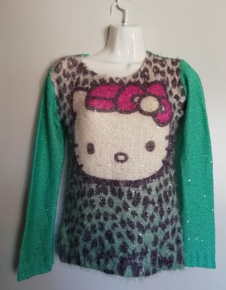 Suéter Hello Kitty Dama Peludito Lentejuelas Estambre T M