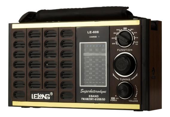 Rádio Am / Fm Retro C/ Sd / Tf / Usb / Aux Lelong - Le-606