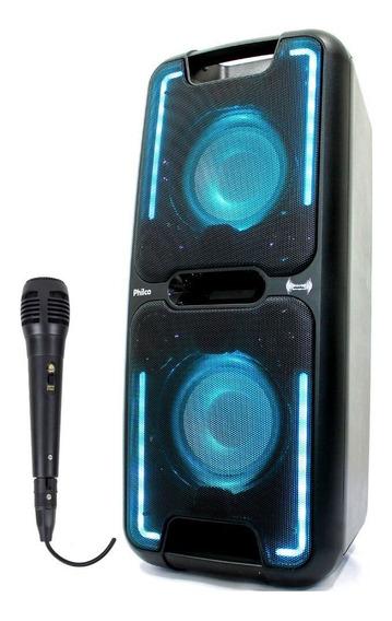 Caixa Amplificada Potente Philco Pcx5501n Microfone Com Fio