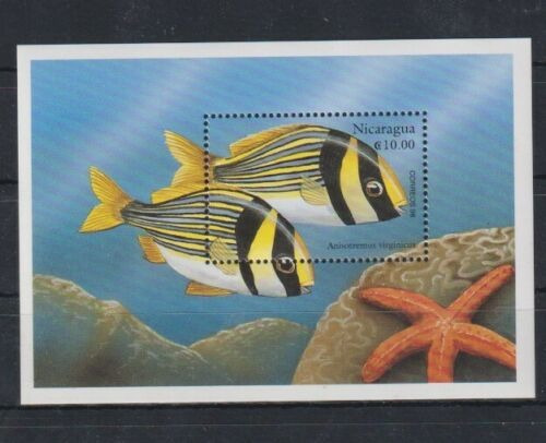 Estampillas Nicaragua 1998 Peces Vida Marina Hb Mint