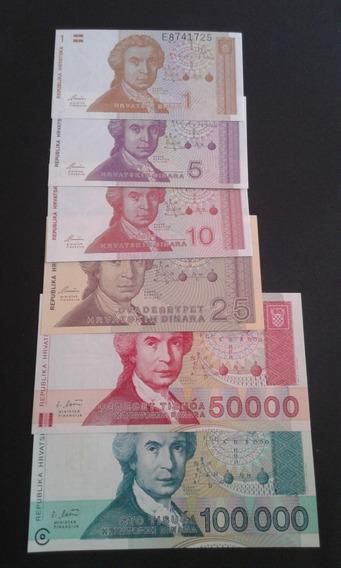 Lote 6 Cédulas Croácia 1, 5, 10, 25, 50000, 100000 Dinara Fe