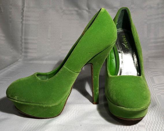 Zapatos De Taco Y Plataforma Eco Cuero Y Gamuza Verdes