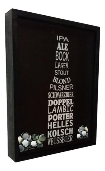 Quadro Porta Tampinhas Artesanal Madeira Nomes De Cerveja