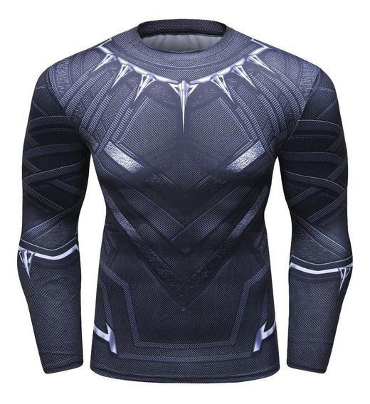 Camiseta Playera Black Phanter Super Heroes Ajustable Gym