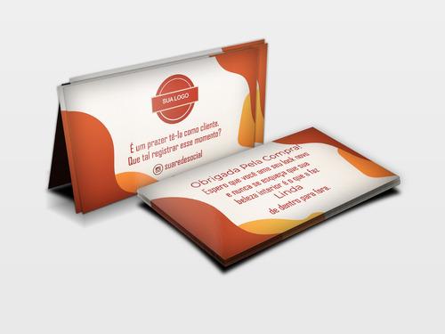 500 Cartão Agradecimento + 500 Adesivos 3x3cm Personalizados