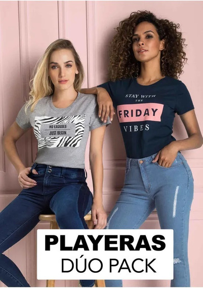 Oferta Playeras Duo Pack Casual Mujer 1449037