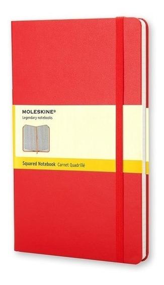 Caderno Clássico, Vermelho, Capa Dura, Quadriculado, Grande