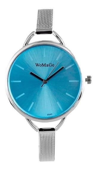 Relógio De Pulso Feminino Womage - Pulseira Super Slim