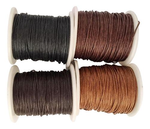 Imagen 1 de 11 de 4 Rolls 80 Meters 1mm Waxed Cotton Cords Thread For Diy Brac