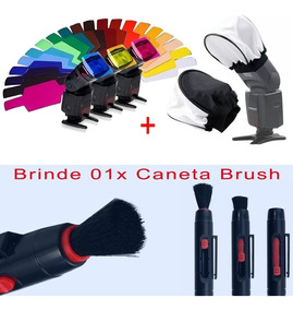 Gelatina P/ Flash Speedlight + Difusor + Brinde Caneta Brush